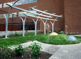 A relaxing garden outside The Johns Hopkins Hospital