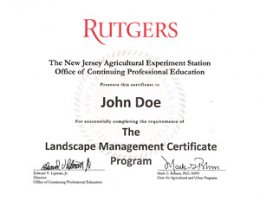 Landscape Management Certificate Sample