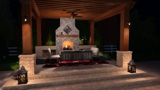 Outdoor Fire Place Design in VizTerra