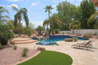 Pool, Landscape and Travertine Pavers