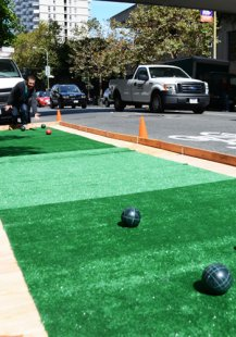 SWA Group Landscape Architecture teamed up with the Bentley Reserve to set up a pop-up bocce ball court
